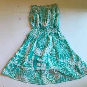 Roxy linen blend strapless dress